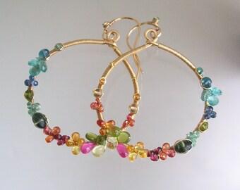 Multi Gemstone Gold Hoops, Colorful Gem Earrings, Apatite Gold Filled Dangles, Sapphire, Peridot, Ruby, Artisan, Original, Made to Order