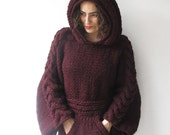 20% WINTER SALE Plus Size Burgundy Knitting Sweater with Hoodie by Afra