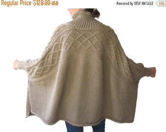 20% WINTER SALE Beige Turtleneck Boyfriend Sweater Plus Size Over Size