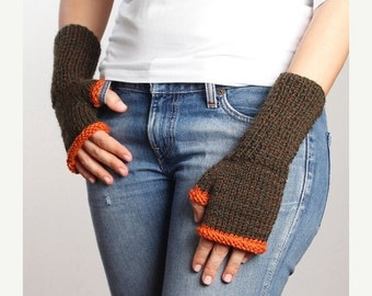CLEARANCE 50% SALE Brown - Orange Knitting Fingerless Gloves