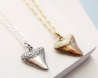 Shark Tooth Necklace | Surfer Necklace | Shark Week | Layering Charm Necklace | Nautical Ocean Jewelry | Silver or Gold