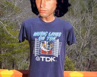 80s vintage tee shirt TDK rock music lives on band t-shirt Medium Large rockstar cassette soft