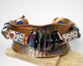 Beaded Copper Cuff, Hammered Cuff, Antique Venetian Trade Beads, Mystic Garnets, Lapis, Austrailan Opal, Repurposed Copper- Into The Mystic