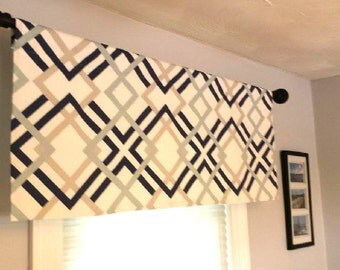 Premier Prints Winston Window Valance/Window Topper/Kitchen/Bedroom/Bath/Straight-LINED/Blue/White/Navy/Yellow/Grey/Green