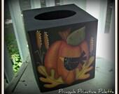 Fall Pumpkin Crow Paper Mache Tissue Box Bath Home Decor
