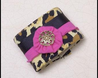 Italian Style Handmade Leopard Print and Hot Pink Fabric Cuff Bracelet fits 8 inch wrist.