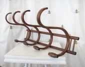 Vintage Bentwood Coat and Hat Wall Rack, Wall Hanging, Wooden, Home Decor, Coat Hooks, Unpainted Wood