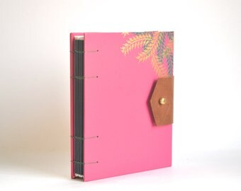 Pink & Gold Palms Hardcover Journal, Hand Bound Coptic Journal, Handmade Journal with Reclaimed Leather and Brass Button