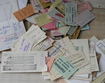 Vintage German paper ephemera Ticket stubs, receipts