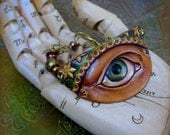 Lover's Eye Amulet - Viridian and Scarlet - Leather, Beaded Bracelet