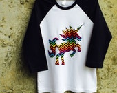 Chevron Rainbow Unicorn - Black and White Baseball Style Shirt for Girls or Boys - Fun Birthday Party or Photo Shoot Outfit - Great Gift