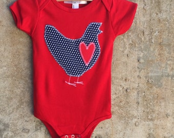 Children's Top for Boys or Girls - Navy with White Dot Chicken LOVE - Baby Bodysuit (3-18mo) or Kids Shirt (2, 4, 6, 8, 10) - Great Gift