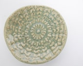 Ceramic  bowl-  Lace Textured- Trinket dish- Grey and Cream Bowl- Lace Pottery- Jewelry holder- lace bowl- Food prep- Ring dish- Salt cellar