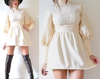 Vintage 60s 70s Vanilla Crocheted Lace Poet Sleeve Mini Dress (size xs, small)