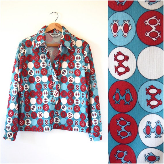 SPRING SALE/ 20% off Vintage 70s Penguins and Polka Dots Novelty Print Long Sleeved Collared Shirt (size medium, large)