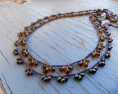 SALE on Crocheted Lace necklace,  natural jewelry
