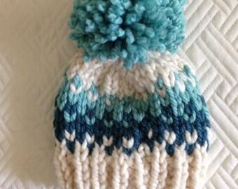 Knit Baby Hat, Toddler Hat Pom Pom, Baby Girl Boy, Fair Isle Teal Aqua Ivory