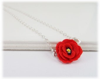 Tiny Poppy Necklace - Poppy Jewelry