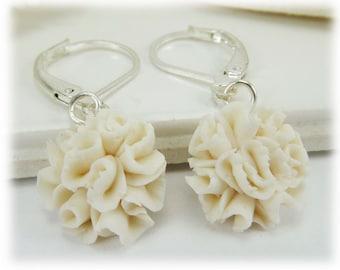 Carnation Dangle Earrings - Carnation Drop Earrings, January Birthday Birth Flower