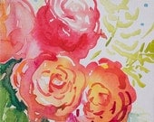 Sweethearts, tiny original watercolor painting of roses by Angela Fehr