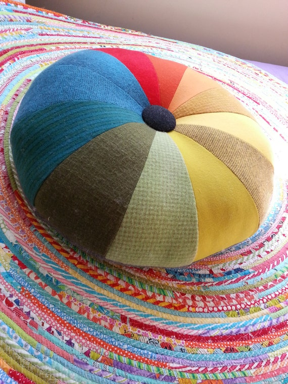 Round Floor Pillow Sewing Pattern : Circus tuffet: tuffet pattern, cushion pattern, round cushion, big cushion, easy sewing pattern ...