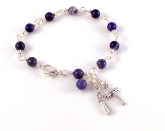St Kateri Lily of The Mohawks Rosary Bracelet In Blue Sodalite by Unbreakable Rosaries