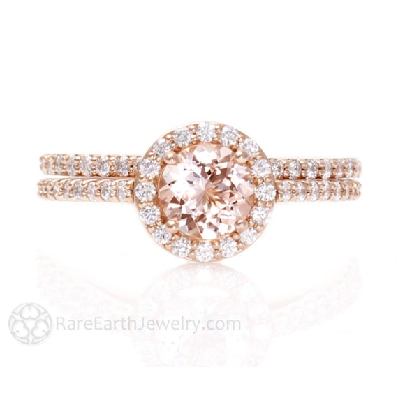 Morganite Engagement Ring Diamond Halo Wedding Ring Rose Gold Custom Bridal Set