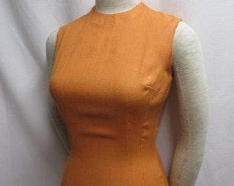 True Vintage 50s Dress Curvy Wiggle Pinup Rockabilly Bombshell Tangerine Orange Linen Pencil Bust 34