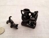 Miniature Black Cat Vase plus Small Black Porcelain Cat, pairing, REDWARE, Old True Vintage, Dollhouse