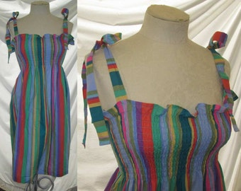 Rainbow stripe 70s dress Vintage pucker top Dress Tie bow Sundress stretchy elastic bodice S M
