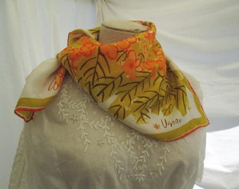 Vintage Vera scarf 70s Silk Orange floral scarf gold Delphinium flowers and leaves Vera ladybug scarf 70s bold floral print scarf