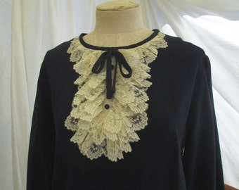 70s Mod Dress Lace Bib Navy Blue vintage Dress 70s vintage Tuxedo lace ruffle dress L