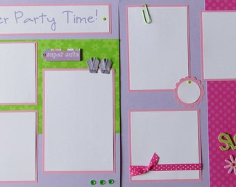 SLUMBER PARTY TIME! 12x12 Premade Scrapbook Pages - GiRLs -- birthday party