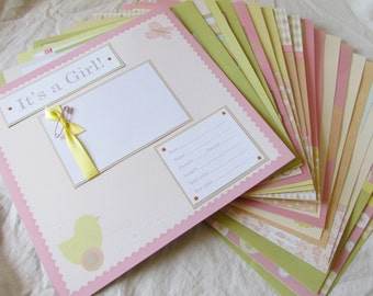 20 premade scrapbook 12x12 pages - BABY GIRL - layouts for FiRsT YeAr ALbUm -- sweet vintage inspired -- 1st year memory book, baby book