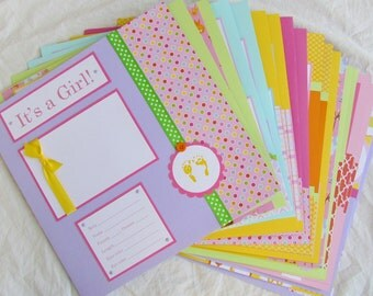 Premade 12x12 Scrapbook Pages - 20 BABY GIRL layouts for 12x12 FiRsT YeAr ALbUm - happy and bright too, baby book, animals, bright, baby 1st