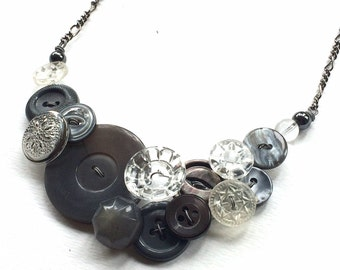 Vintage Button Necklace Glamorous Gray Fashion