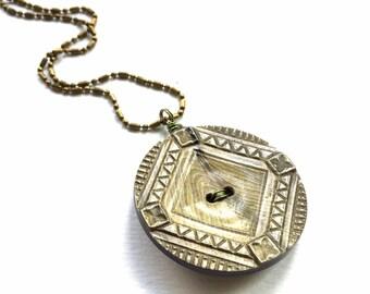 Antique Vintage Button Pendant Necklace - Olive Green Bronze Carved Celluloid Button