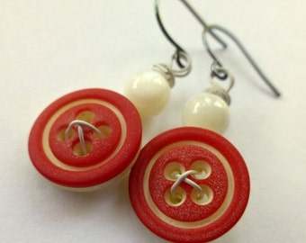 ON SALE Red and White Dangle Button Earrings