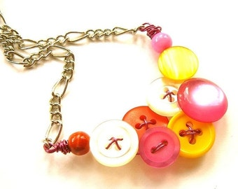 Winter sale Small Necklace- Hot Colors, Bright Pink, Orange, White, and Yellow Vintage Buttons