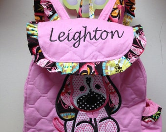 Patchwork Puppy Girl TODDLER  Backpack CUSTOM HANDMADE Embroidered and Applique'd  Choose your Quilted Fabric color and your Trim