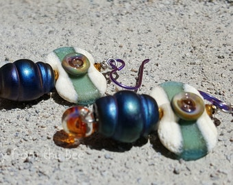 Eclectic Boho Earrings - blue, purple and green earrings - lampwork earrings - artisan earrings
