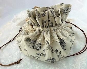 Wedding Pouch Bag, Bridal Purse, Communion, Vintage  Bouchara Promenade &  Lace Drawstring