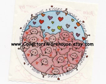 Hogs and Kisses Vintage 80's Sticker by Great American pigs love hugs and kisses