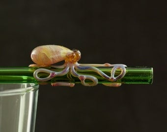 Octopus Glass Straw Hand Blown in Emerald Green & Amber Purple, Ready to Ship #462
