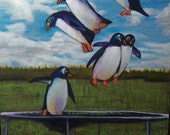 original art  color pencil drawing popping penguins on trampoline humorous matted wall decor