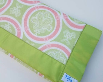 Stroller Blanket  - Lime Green and Coral Paisley