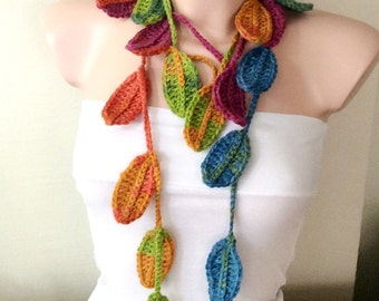 Leaf Scarf, Handmade Crochet Rainbow , Flower Lariat, Scarf, Necklace