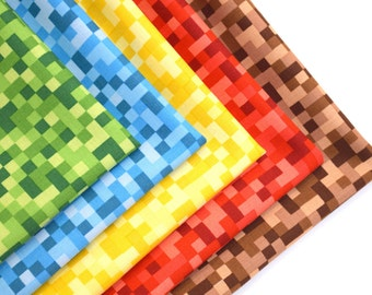 FREE OFFER Reusable Cloth Napkins - Set of 5- Minecraft Blocks