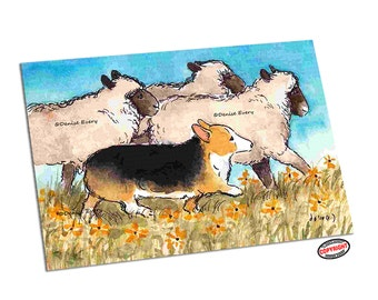 Welsh Corgi Art Print Herding Dog Sheep Pembroke Welsh Corgi Print Corgi Lover Corgi Gift Corgi Home Decor Dog Art by Denise Every