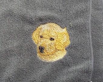 Yellow Labrador Retriever Dog Embroidered Tea /Dish Towel